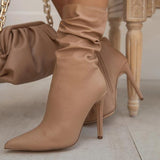 kovogue Faux Leather Pleated Sexy Stiletto Boots