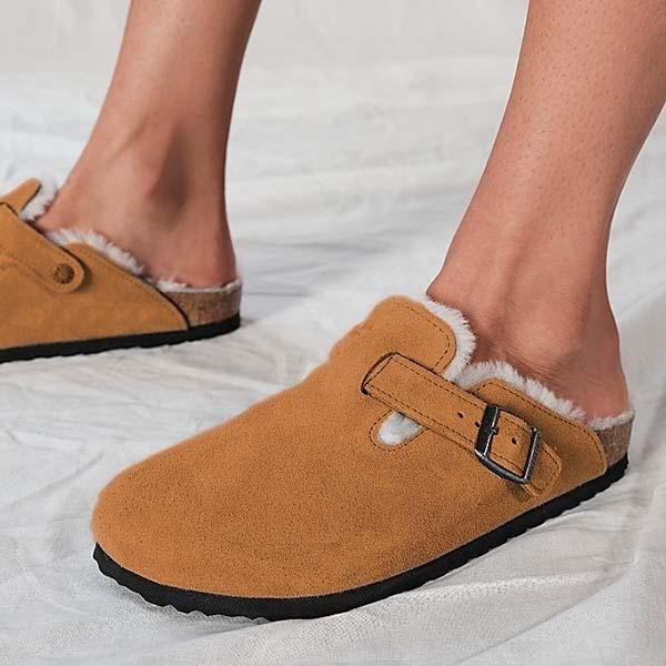 kovogue Suede Adjustable Buckle Slippers