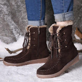 kovogue Suede Plush Lined Stitching Side Zipper Lace Up Flat Short Boots