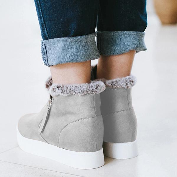 kovogue Fur Inside Zip Side Suede Sneakers