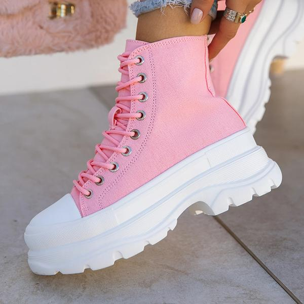 Kovogue Pull On Styling Front Lace Up Closure Sneakers