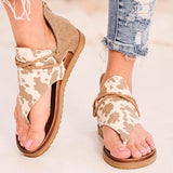 Kovogue Anvas Contrasted Zippered Cow Prited Sandals