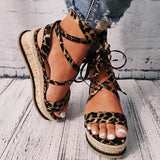 Kovogue Women Lace Up Straw Platform Sandals