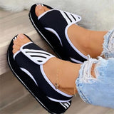 Kovogue Casual Comfy Fashion Knitted Color-Blocking Velcro Sandals