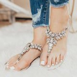 Kovogue Gorgeous Crystal Jelly Clear Thong Sandals
