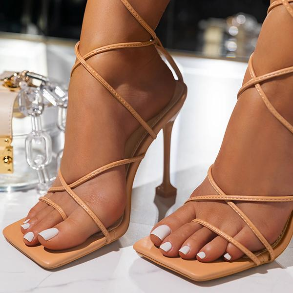 Kovogue Around-The-Ankle Lace-Up Closure Open Squared Toe Heels