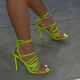 Kovogue Wrap Around Ankle Laces Multi Straps Heels