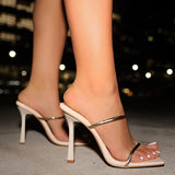 Kovogue Double Gold Strap Square Toe Flared Heels