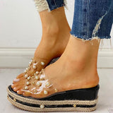 kovogue Transparent Espadrille Platform Sandals