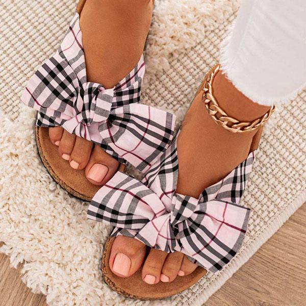 Kovogue Women Comfy Classic Plaid Summer Sandals