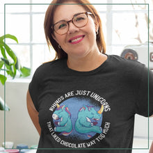 "Load image into Gallery viewer, Women's short sleeve t-shirt ""Rhinos are just unicorns...*"