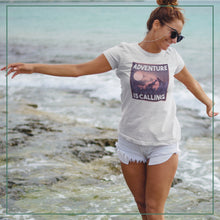 "Load image into Gallery viewer, Women's short sleeve t-shirt ""Adventure is calling"""