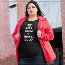 "Load image into Gallery viewer, Women's short sleeve t-shirt ""Keep calm and travel solo"""