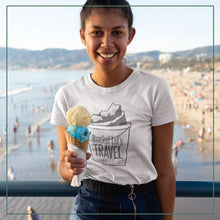 "Load image into Gallery viewer, Women's short sleeve t-shirt ""Bucket list travel"""