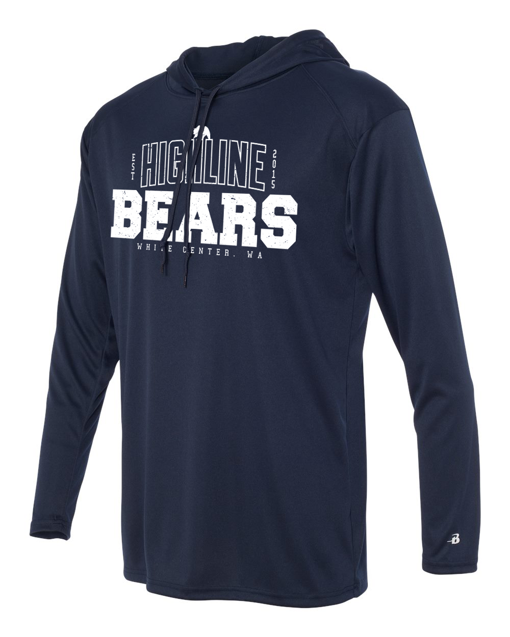 Navy Highline Bears Alternate Logo Long Sleeve Hoodie T-Shirt