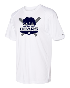 White Highline Bears Logo Badger Dri-Fit T-Shirt