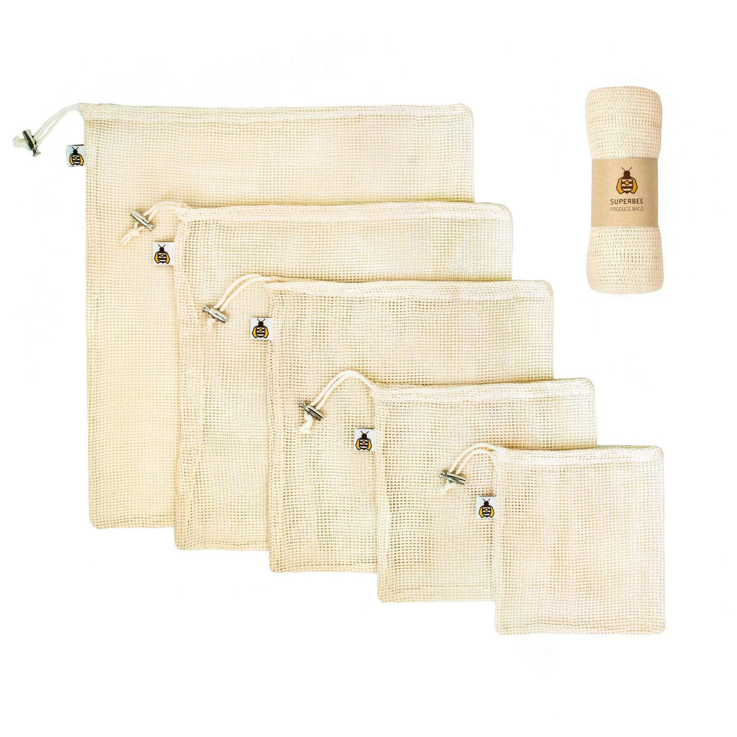 SuperBee Mesh Produce Bag, Certified 100% Organic Cotton (XS, S, M, L, XL) - Set of 5