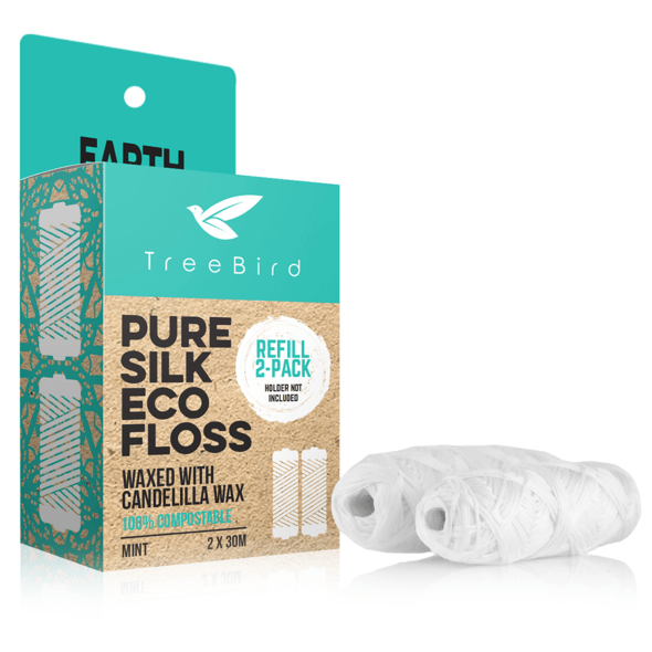TreeBird Pure Silk Eco Floss Refill, Compostable (Mint) - 2-Pack