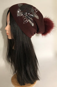 Floral Sequinned Knitted Pompom Beanie