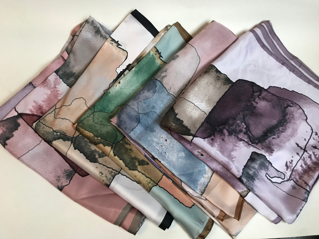The Watercolor Satin Scarf