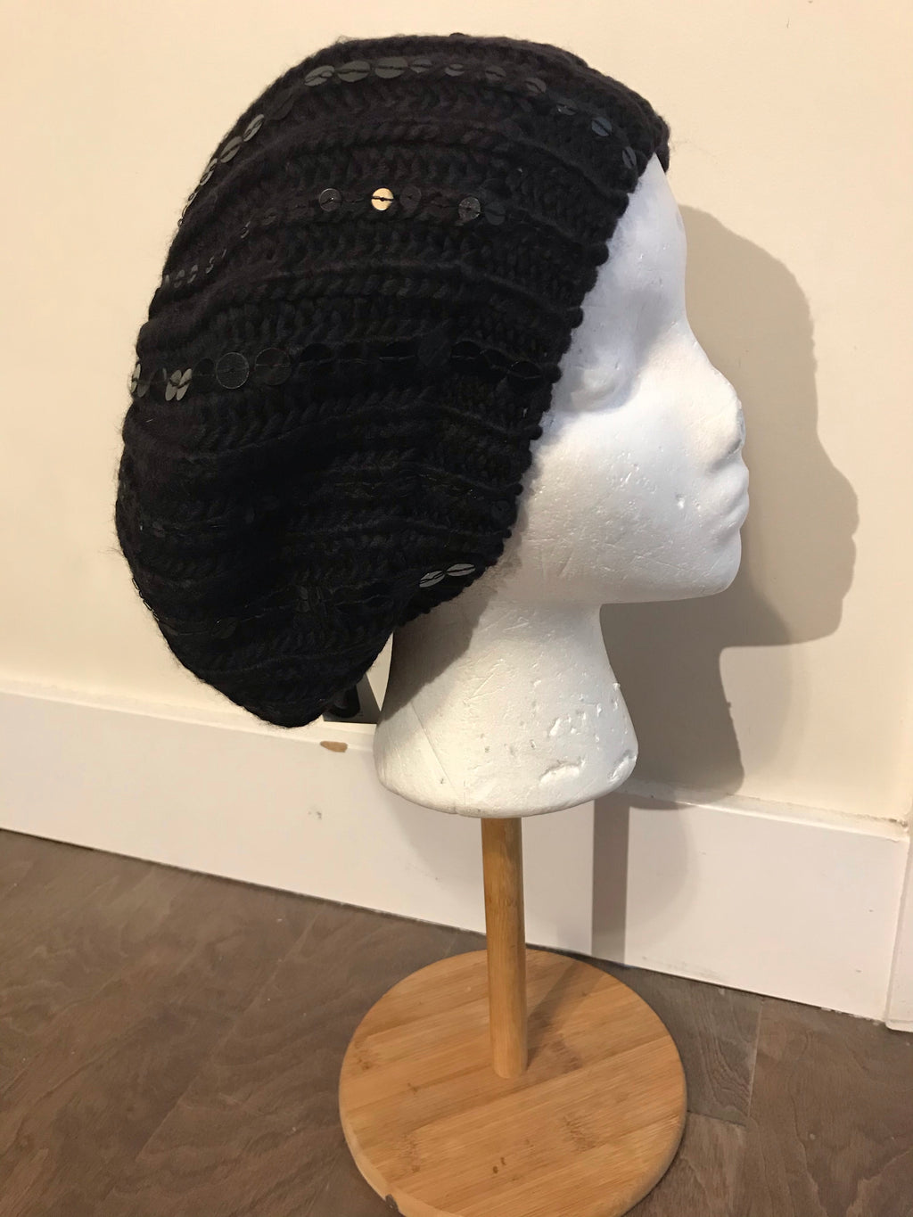The Sequin Beret-Black