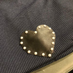 Leather heart beanie