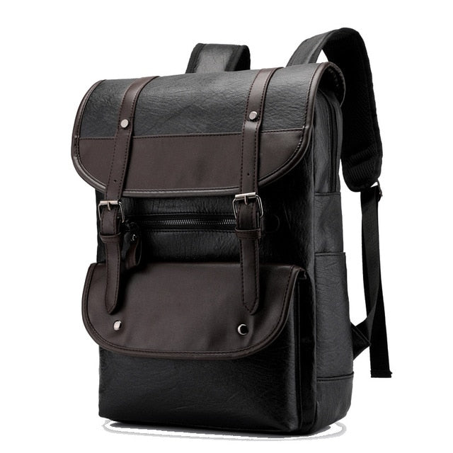 Men/'s Waterproof Vintage Leather School Shoulder Bag Laptop Rucksack Backpack
