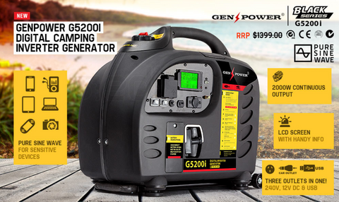 GENPOWER Inverter Generator 2.7kVA Max 2.5kVA Rated Portable Camping Petrol - Country Outdoor Supplies