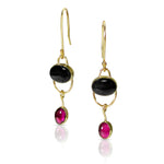18k Black Onyx  Rhodolite Garnet Earrings