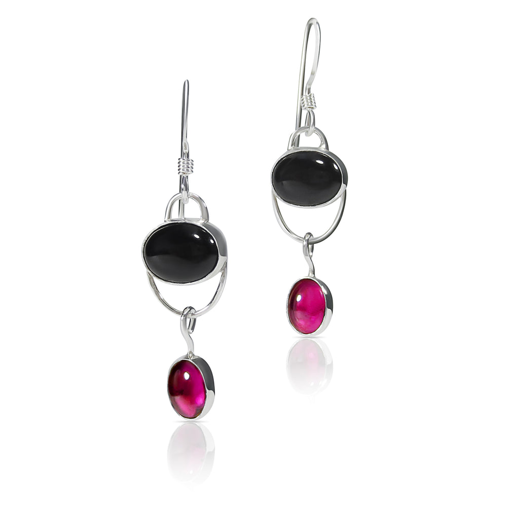 Black Onyx and Rich Violet Rhodolite Garnet Earrings