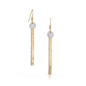 Gold bar with silver disc earrings.