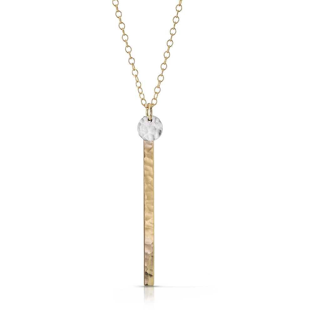 Silver Disc on Gold Skinny Bar Necklace