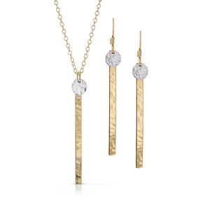 Load image into Gallery viewer, Small textured silver disc on skinny gold bar jewelry set.