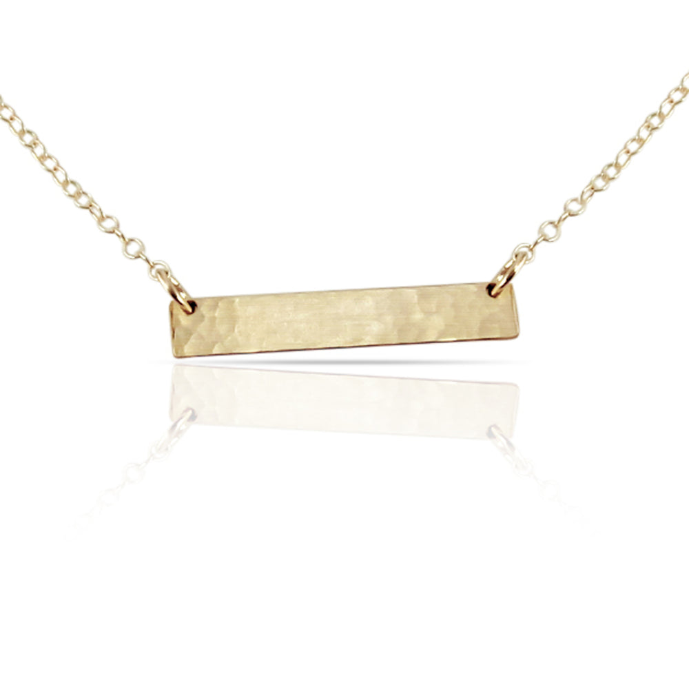 Gold blank bar necklace.