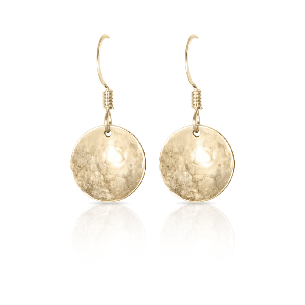 Gold concave textured disc  earrings.