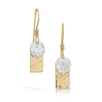 Handmade gold rectangle with silver disc earrings.