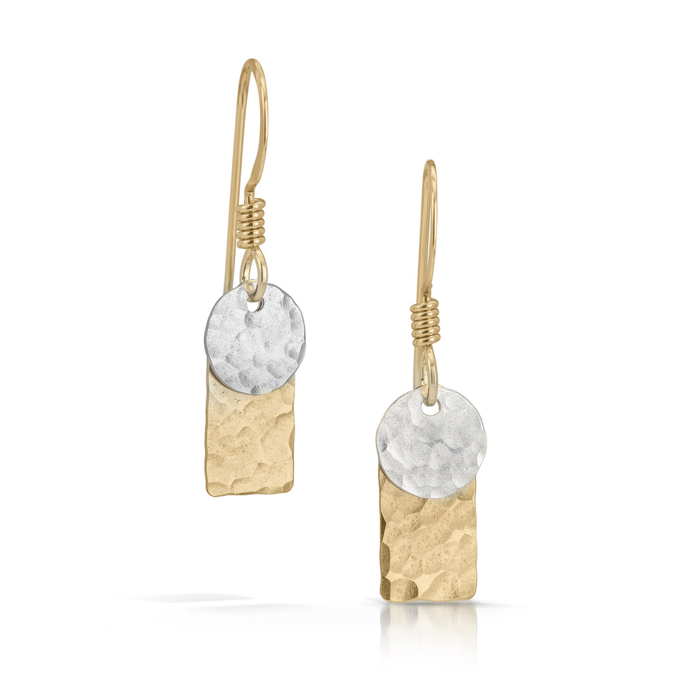 Silver Disc on Gold Rectangle Earrings