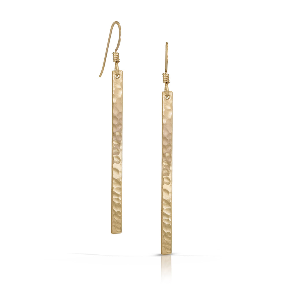Load image into Gallery viewer, Gold skinny bar earrings.