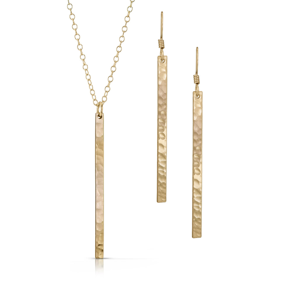 Load image into Gallery viewer, Textured gold skinny bar jewelry set.