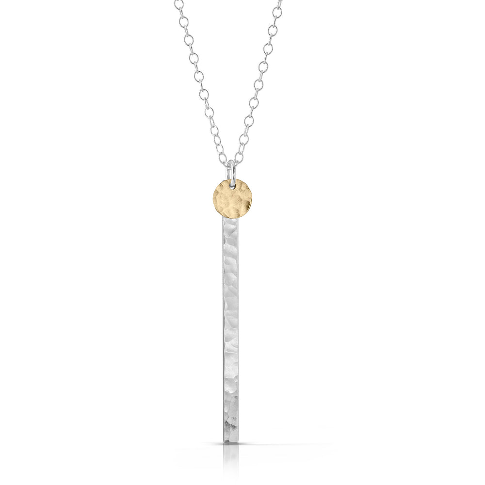 Gold Disc on Silver Skinny Bar Necklace