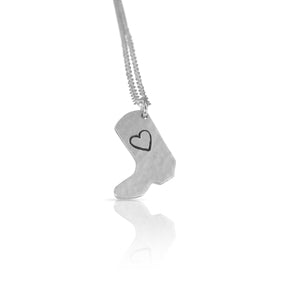 Silver boot charm necklace.