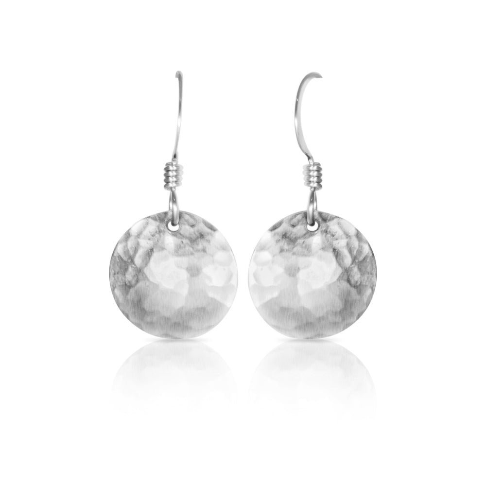 Silver Convex Disc Earrings
