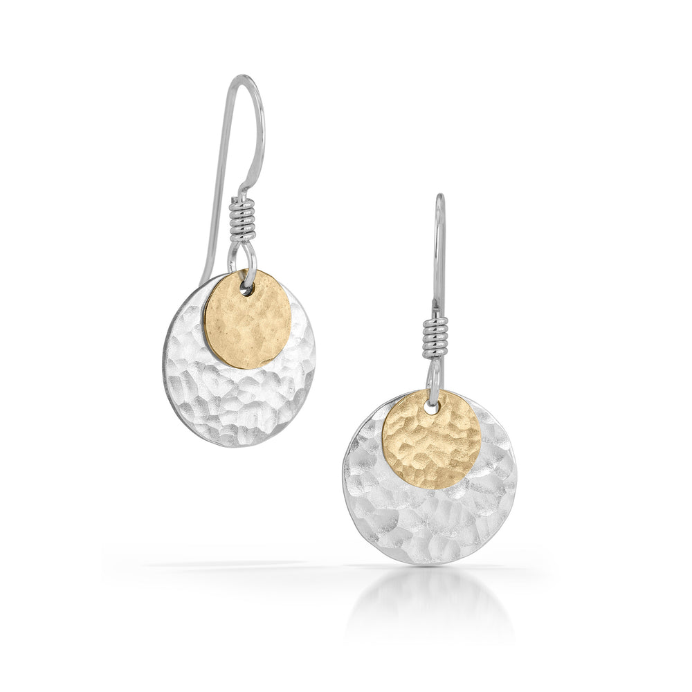 Hammered gold disc on silver disc earrings.
