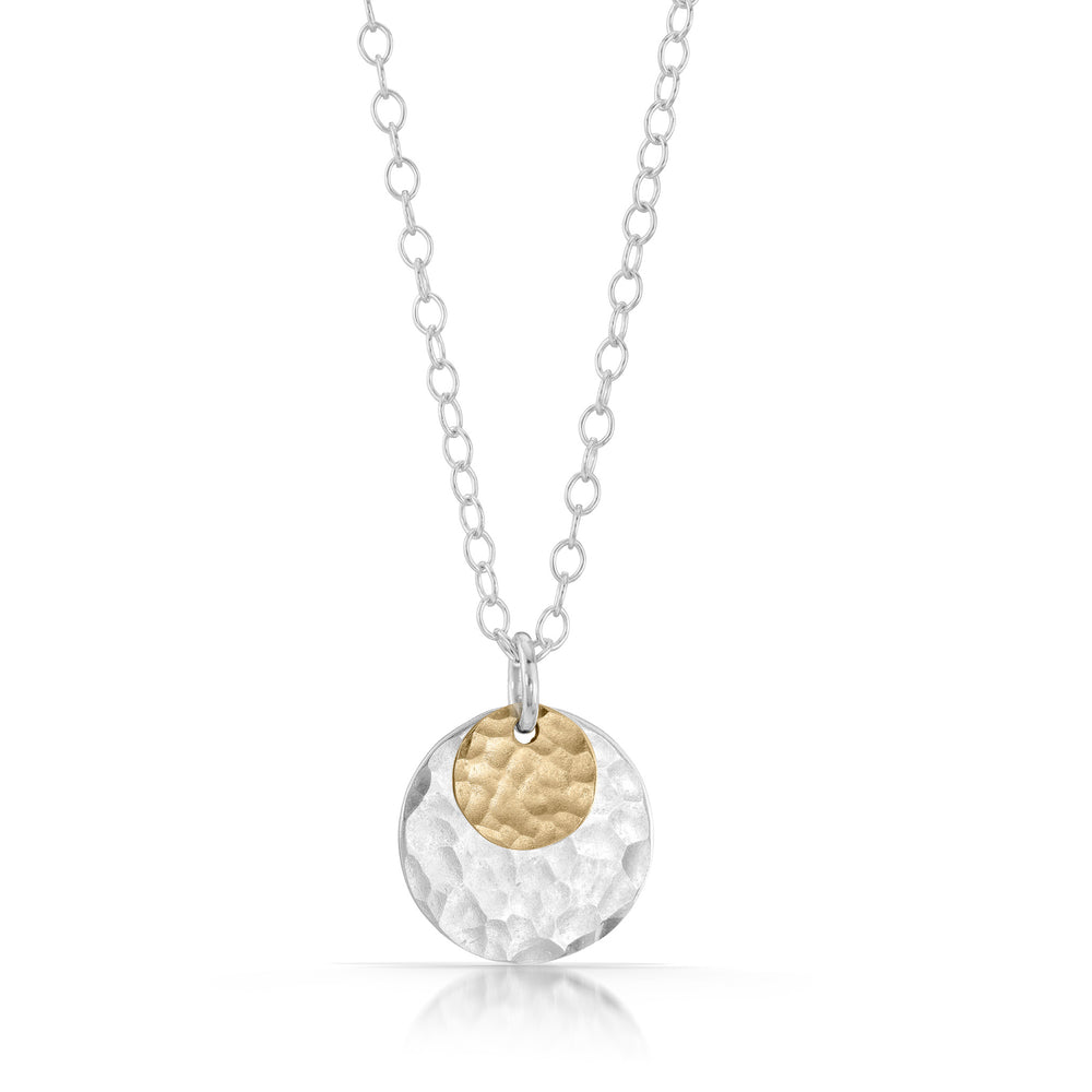 Gold on Silver Disc Necklace
