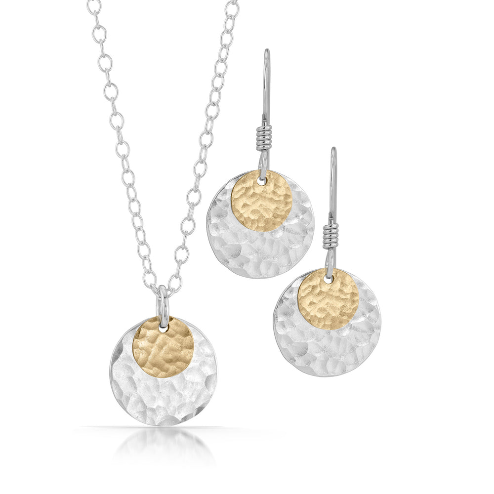 Small Gold Disc on Silver Disc Necklace and Earrings.