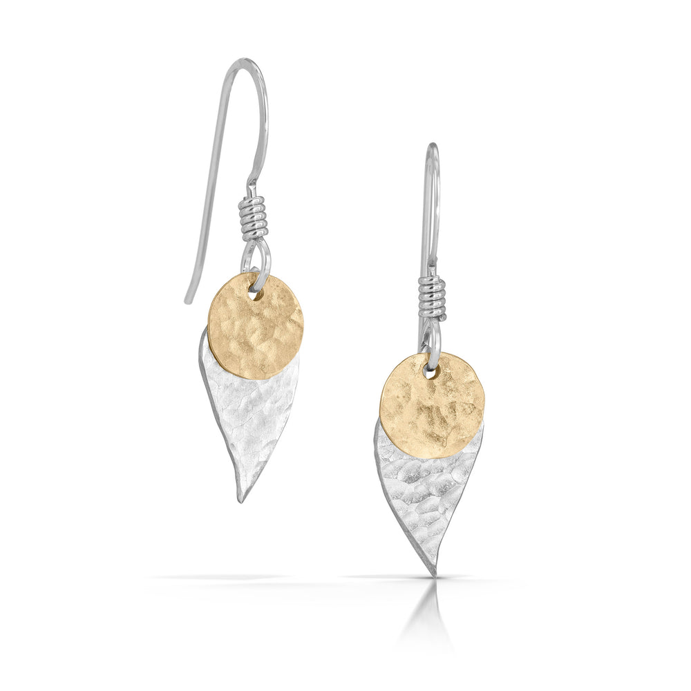 Load image into Gallery viewer, Handmade silver disc on silver leaf earrings.