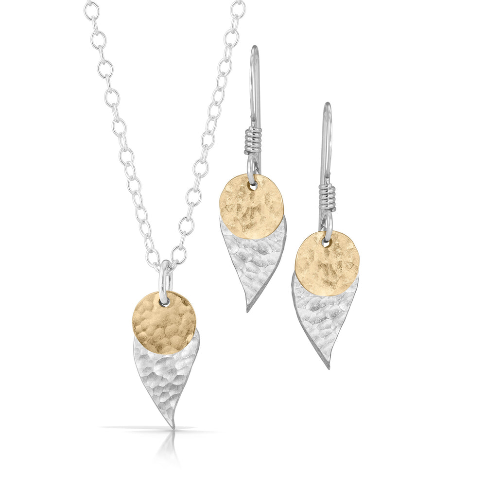 Gold Disc on Silver Leaf Jewelry Set