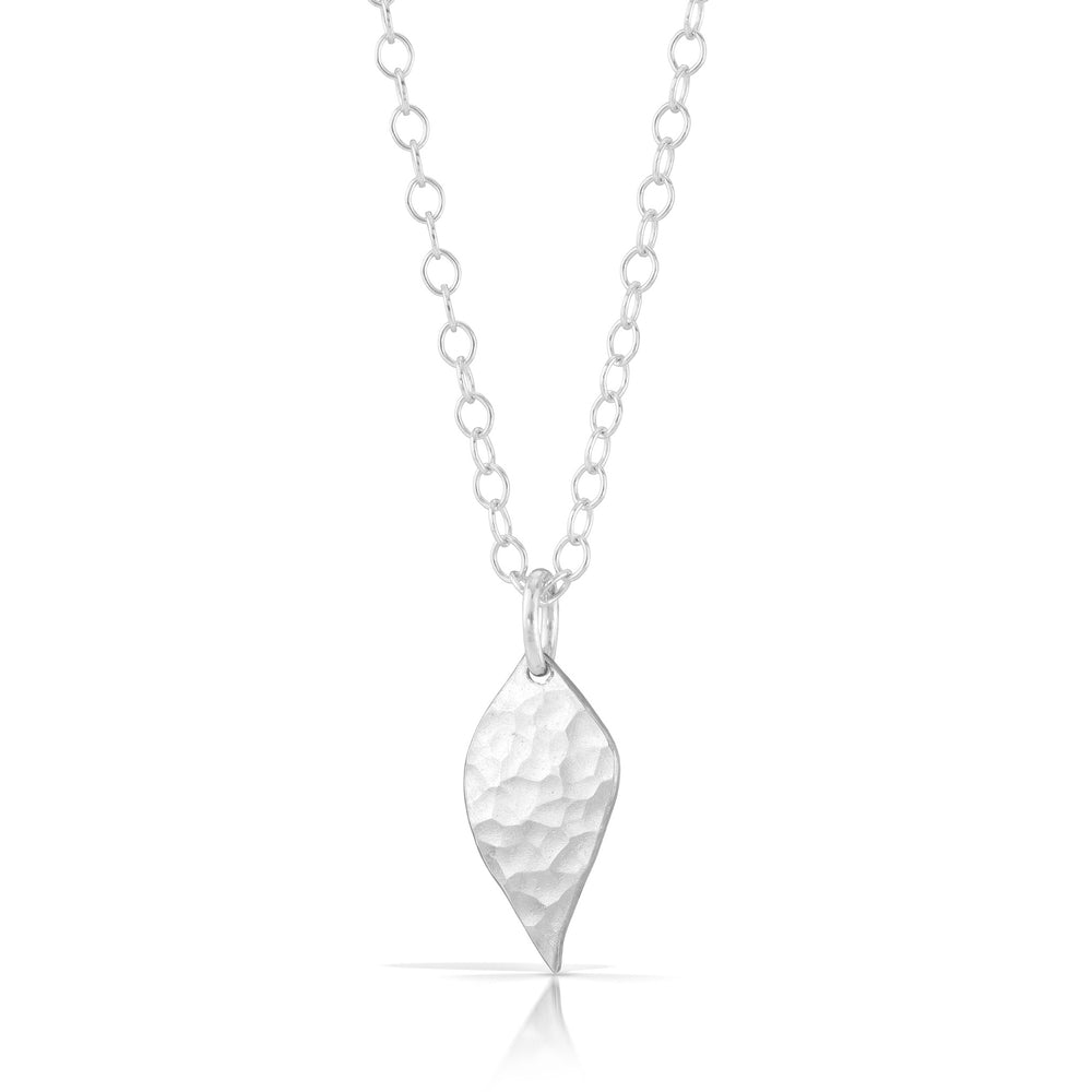 Silver leaf necklace.