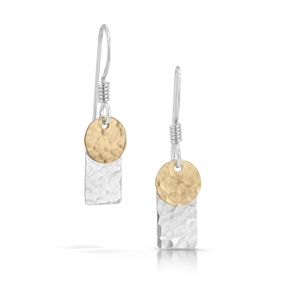 Silver rectangle with gold disc earrings.