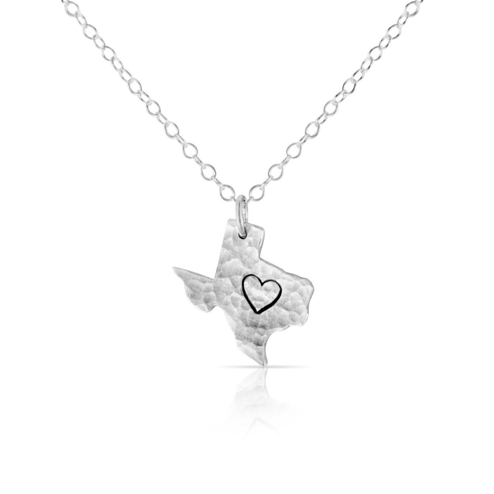 Load image into Gallery viewer, Silver Texas heart necklace.
